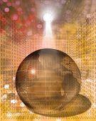 stock photo of binary code  - Earth Binary Code and Key - JPG