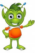 stock photo of alien  - A cartoon illustration of a cute little green alien character with pointy ears - JPG