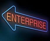 stock photo of enterprise  - Illustration depicting an illuminated neon sign with an enterprise concept - JPG