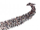 image of crowd  - crowd in the shape of an arrow - JPG