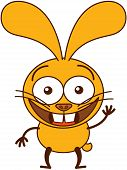 foto of politeness  - Cute yellow bunny in minimalistic style with big ears - JPG