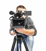 image of recording studio  - Video camera operator filmed - JPG