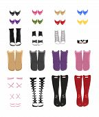 stock photo of platform shoes  - Vector set of different styled and colored female shoes - JPG