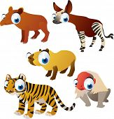 stock photo of tapir  - vector isolated cartoon cute animals set - JPG