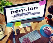 picture of retirement  - Pension Retirement Income compensation Office Business Concept - JPG