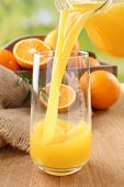 picture of orange-juice  - Pouring orange juice from glass carafe - JPG