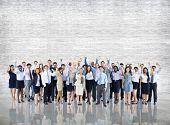 foto of crowd  - Crowd Business People Celebration Success Togetherness Team Concept - JPG
