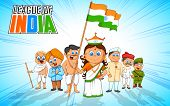 stock photo of gandhi  - illustration of kids in fancy dress of Indian freedom fighter - JPG