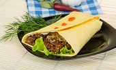 stock photo of shawarma  - Shawarma with meat salad leaves and spices - JPG