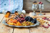 stock photo of ground nut  - A mixture of dried fruits and nuts - JPG