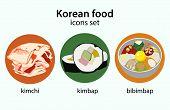 stock photo of kimchi  - Bibimbap kimchi kimbap korean food icons set - JPG