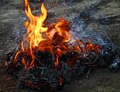 stock photo of gases  - Dangerous burning trash products - JPG