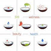picture of ayurveda  - Set of icons and emblems for SPA and ayurveda therapy - JPG