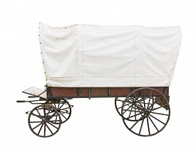 stock photo of wagon  - Covered wagon with white top isolated on white background - JPG