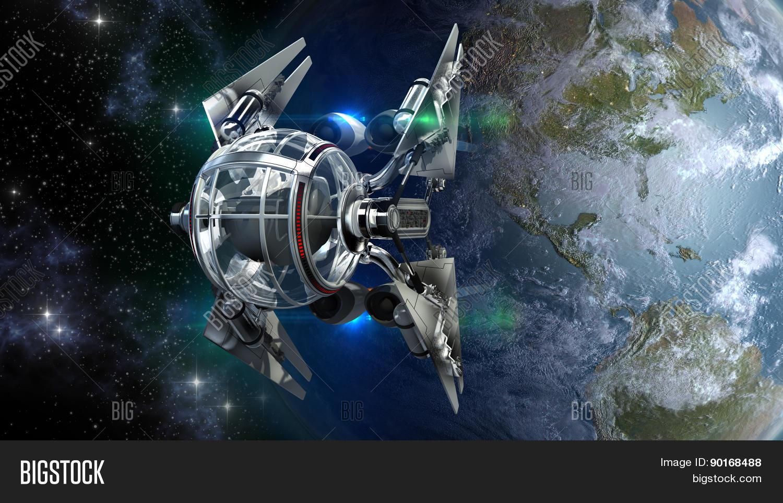Drone Spaceship Leaving Earth