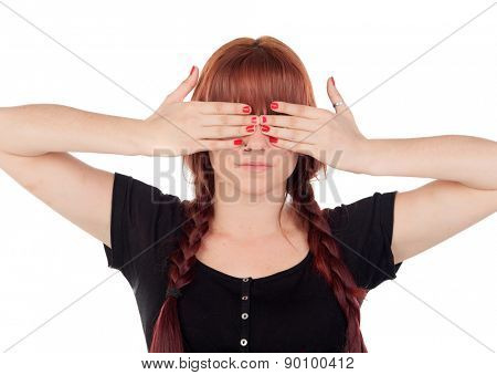 Teenage girl dressed in black with a piercing covering her eyes isolated on white background