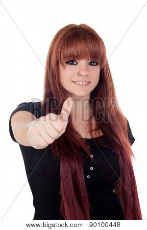 Teenage girl dressed in black with a piercing saying Ok in the nose indicating something isolated on white background