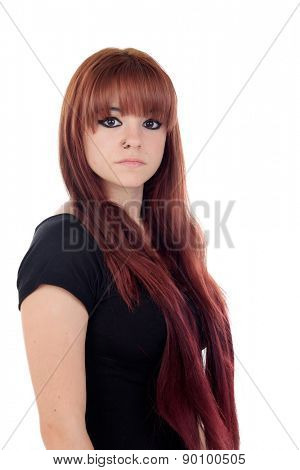 Teenage girl dressed in black with a piercing isolated on white background