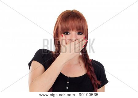 Teenage girl dressed in black with a piercing covering her mouth isolated on white background