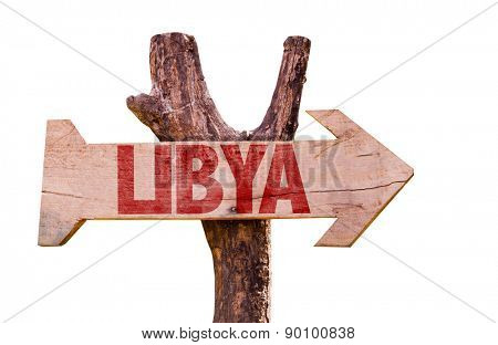Libya wooden sign isolated on white background