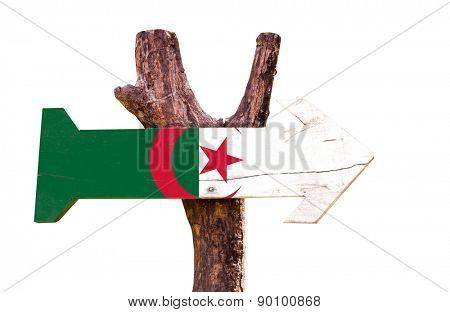 Algeria Flag wooden sign isolated on white background