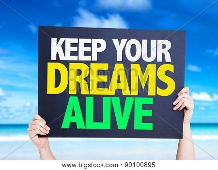Keep Your Dreams Alive card with beach background