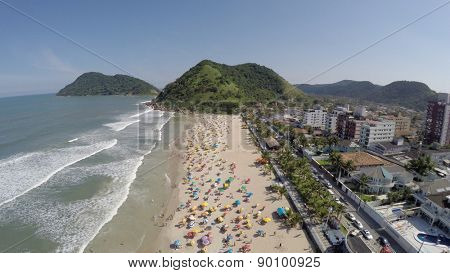 A Crowd Beach on a Summer Day in Brazilian Coastline