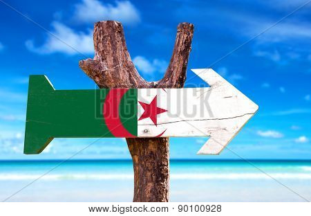 Algeria Flag wooden sign with ocean background