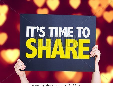 Its Time to Share card with heart bokeh background