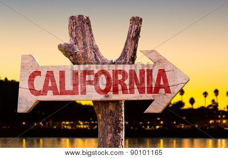 California wooden sign with sunset background