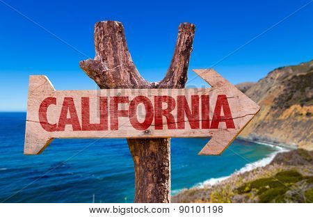 California wooden sign with Big Sur on background