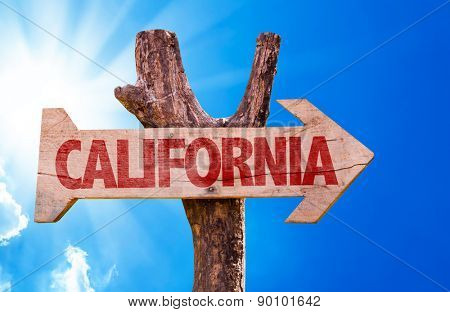 California wooden sign with sky background
