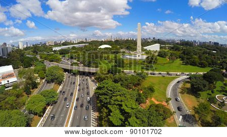 Aerial View of Obelisk and Ibirapuera Park of Sao Paulo city, Brazil