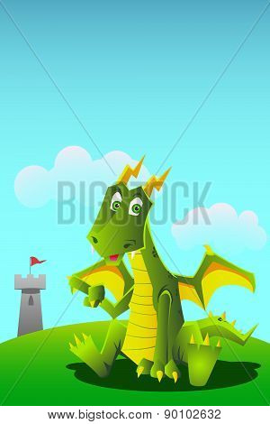 Dragon Pointing At Tower