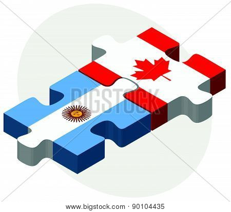 Argentina And Canada Flags In Puzzle