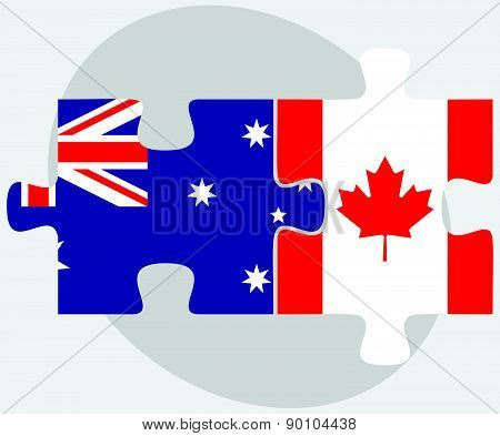 Australia And Canada Flags In Puzzle