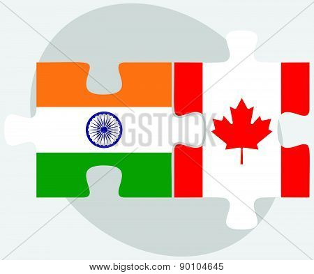 India And Canada Flags In Puzzle