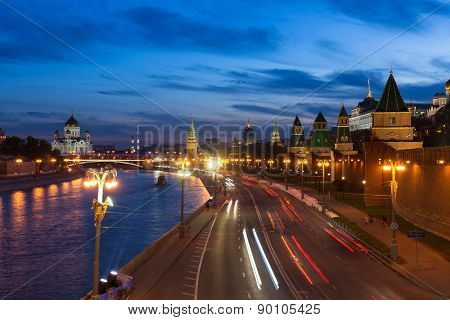 The view of the Moscow Kremlin at dusk