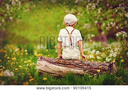 Cute Little Boy Sitting On Wooden Log, In Spring Garden