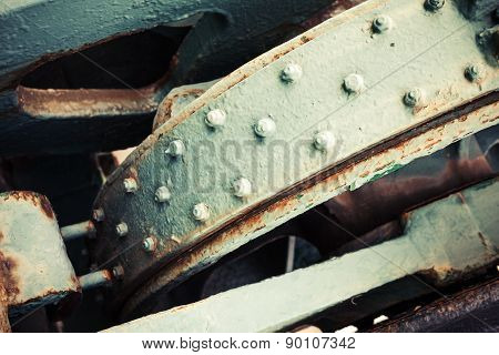 Abstract Old Industrial Mechanism Details Assembly