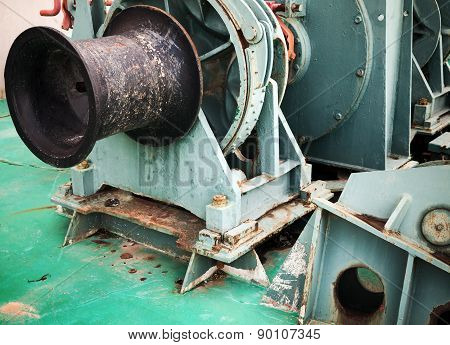 Bow Anchor Winch Fragment With Black Shaft