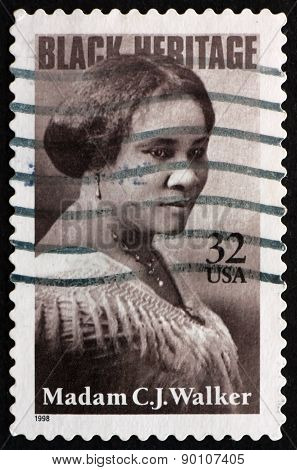 Postage Stamp Usa 1998 Madam C. J. Walker, Entrepreneur