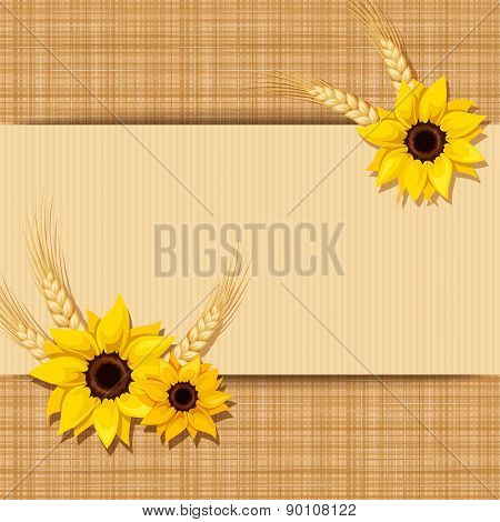 Vector card with sunflowers and ears of wheat on a sacking background. Eps-10.