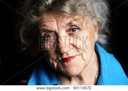 Granny face on a black background