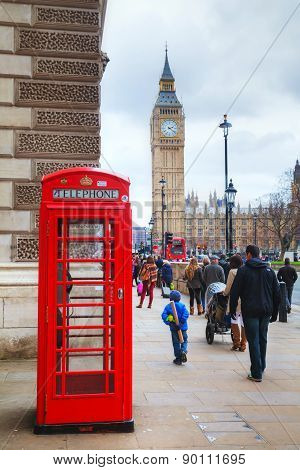 Famous Red Telephone Booth In London