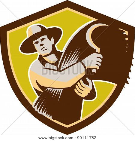Organic Farmer With Scythe Wheat Harvest Retro