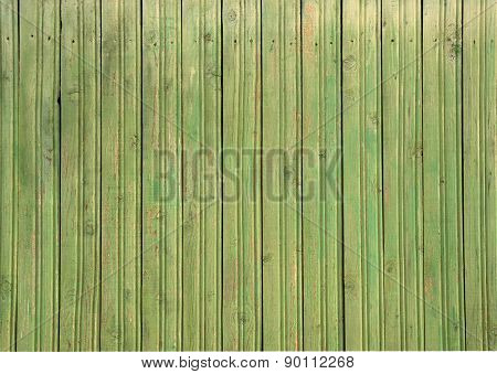 Texture Of Old Green Fence