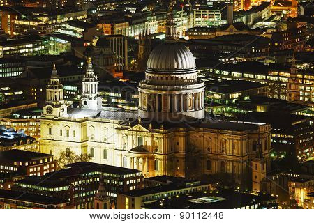 Aerial Overview Of London City With The St Pauls Cathedral