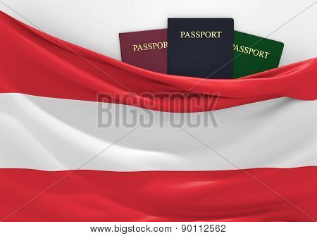 Travel and tourism in Austria, with assorted passports