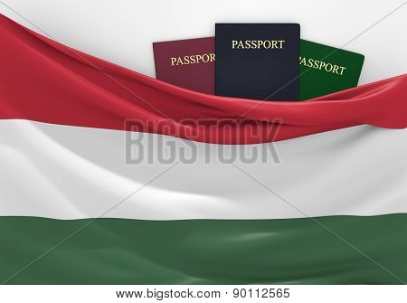 Travel and tourism in Hungary, with assorted passports